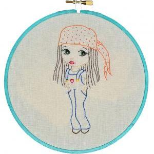 Girl in dungarees, Hand Embroidery ..
