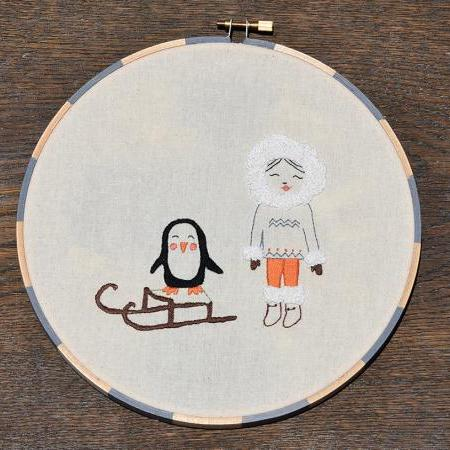 Eskimo with penguin on sleigh, Inuit, Hand Embroidery PDF Pattern