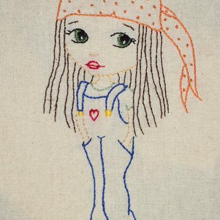 Girl in dungarees, Hand Embroidery PDF Pattern